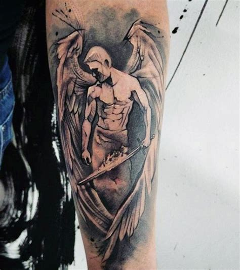 tattoo angel abstract nice looking abstract black and white angel tattoo on
