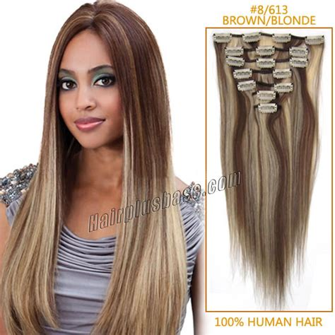 8 inch human hair extensions 18 inch 8 613 brown clip in human hair extensions