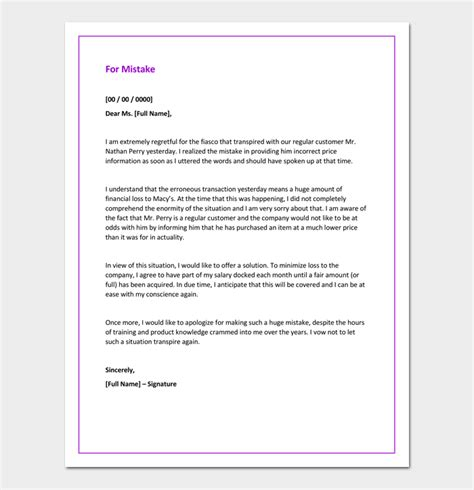Apology Letter To For My Mistake Apology Letter For Mistake 5 Sles Exles Formats