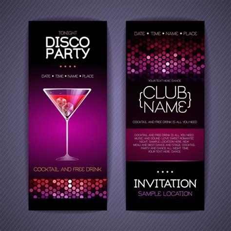 birthday invitation card design vector free download disco party invitation cards creative vector 03 vector