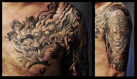 half sleeve dragon tattoo designs chronic ink tattoos toronto and tiger