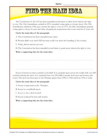 Idea Worksheets 5th Grade by Middle School Idea Reading Passage Worksheet
