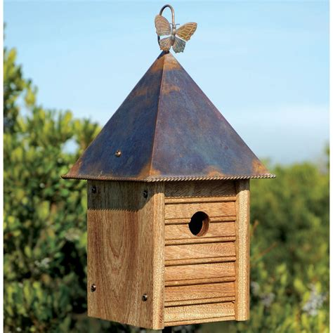 wooden bird houses homestead wooden bird house with copper roof yard envy