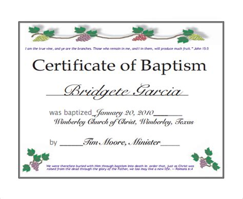 certificate of baptism template sle baptism certificate 22 documents in pdf word psd