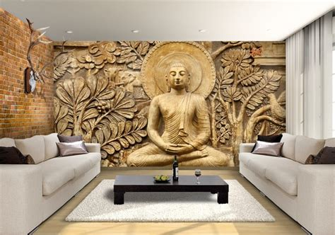buddha wooden carving custom wallpaper mural print  jw