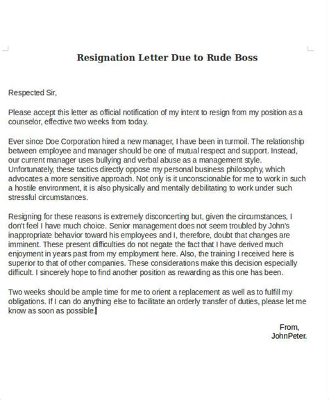 Resignation Letter Sle With Reason Bad Management Ideas Collection How To Write A Resignation Letter Bad In Letter Template Compudocs Us