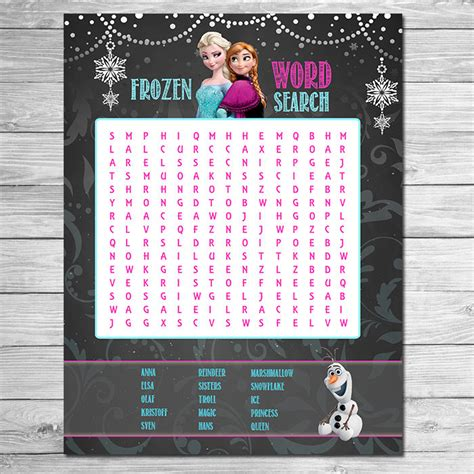 printable frozen word search frozen word search chalkboard printable frozen party game