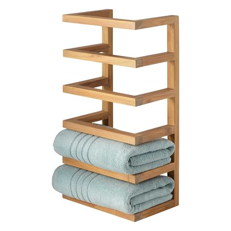 bathroom towel racks with shelves teak hanging towel rack new bathroom accessories