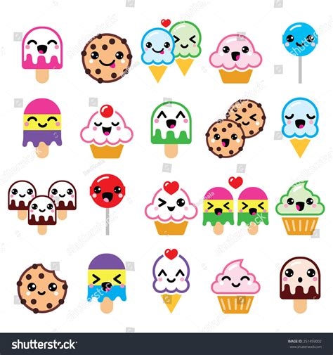 cafe personaggi kawaii food characters cupcake icecream stock vector