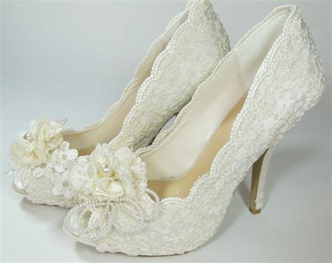 Lace Wedding Heels by Wedding Lace Heels Maderia Collection Ivory By Marymarryme
