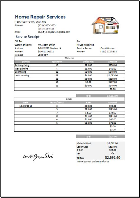 home business receipt template free home improvement invoice template hardhost info