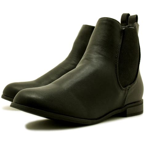 buy flat chelsea ankle boots black leather style