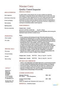Quality Inspector Resume by Quality Inspector Resume Inspections Safety Testing Exle Sle Standards