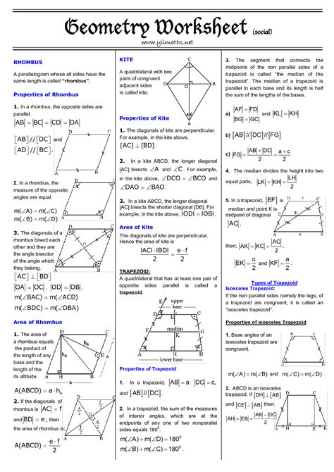 trapezoid and kites worksheet 11 best images of area of quadrilateral worksheet types of quadrilaterals worksheet