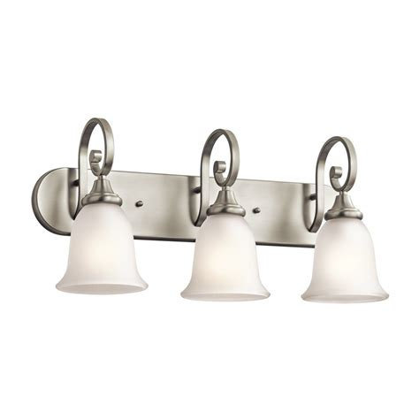 bathroom vanity lighting brushed nickel shop kichler monroe 3 light 11 5 in brushed nickel bell