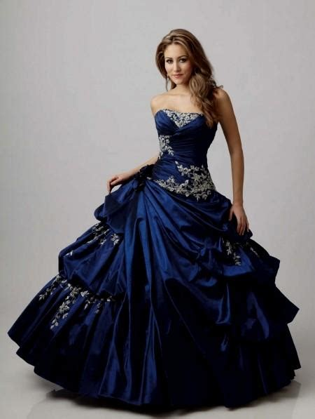 Blue And White Gothic Wedding Dress