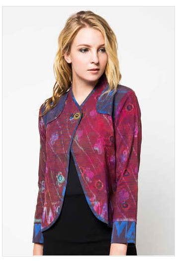 Blues Batik Wanita Kerah Jas desain baju muslim blazer kombinasi batik model baru