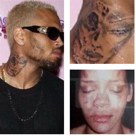 chris brown tattoo on neck rihanna has chris brown tattooed rihanna on his neck flavourmag