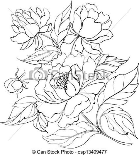 vectors illustration of ink painting of peony ink