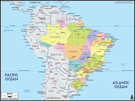 brazil political map brazil political wall map maps