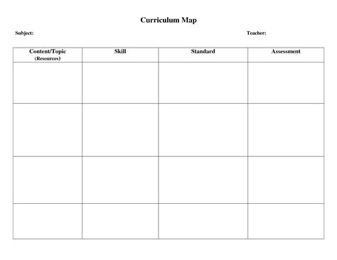 blank curriculum template curriculum map template beepmunk