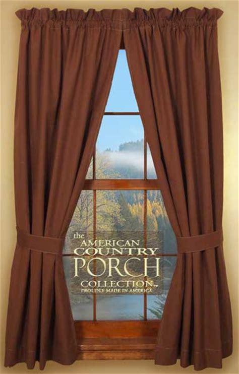 Solid Brown Tieback Curtain Panels