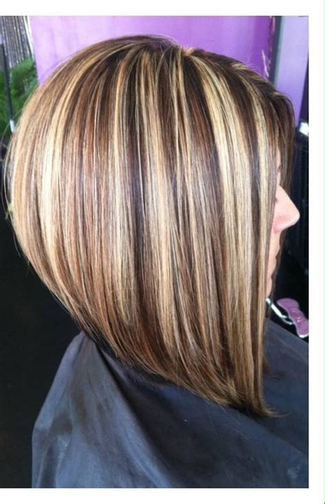highlights and lowlighted blunt cut bob long bob haircut chunky highlights mocha lowlights