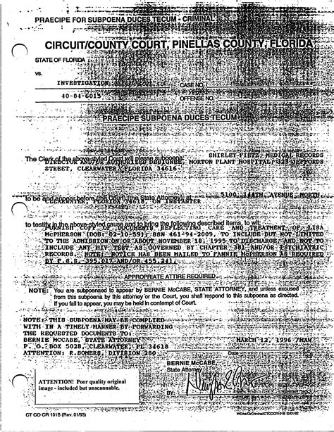 Morton County Court Records Subpoena Request To Morton Plant Hospital The Mcpherson Files