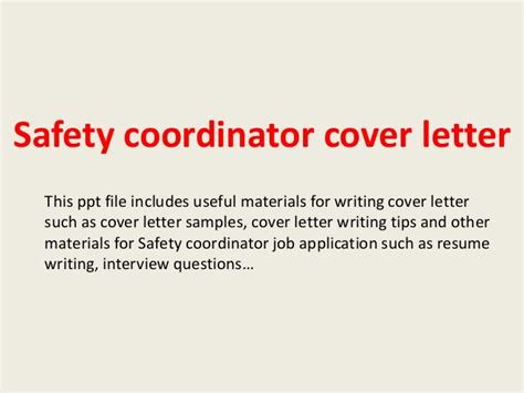 Health And Safety Consultant Cover Letter by Safety Coordinator Cover Letter