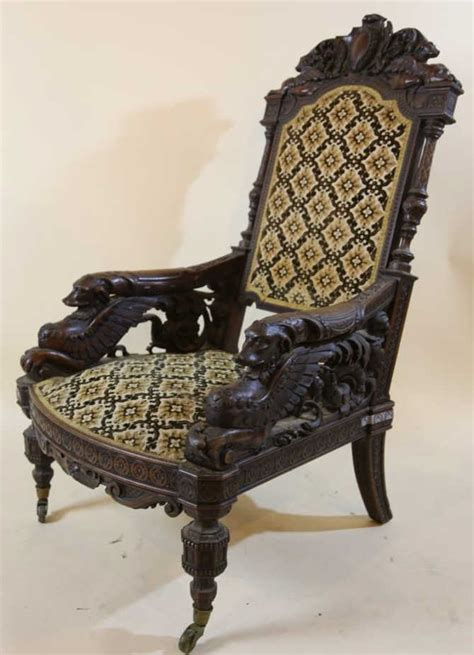 Antique Chair With Carved by Important Antique Carved Arm Chair