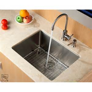 kraus 23 quot x 18 quot undermount kitchen sink with faucet and