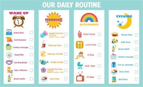 printable toddler routine chart routine chart daily routines pinterest routine
