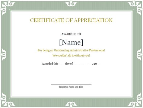 free appreciation certificate templates