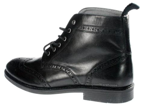 mens black brogue lace formal boots toe ankle boots