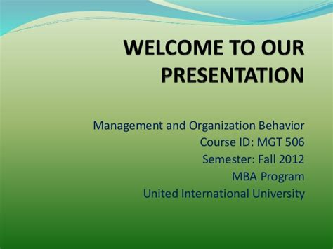 Organisational Behaviour Notes For Mba Ppt by Management And Organization Behavior Ppt On Decision