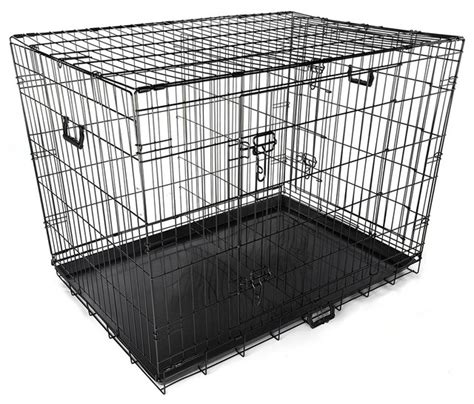 2 door foldable metal wire tray divider pet crate