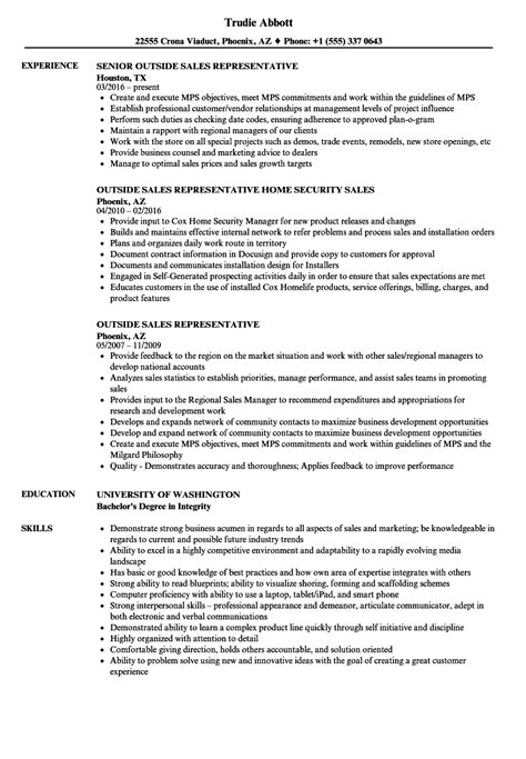 outside sales representative resume sles outside sales representative resume sles velvet