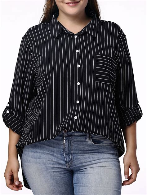 Sleeve Pinstriped Shirt casual pinstriped 3 4 sleeve plus size shirt for