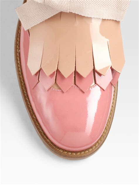 Valentino 18 Glossy lyst valentino bicolor patent leather bow oxfords in