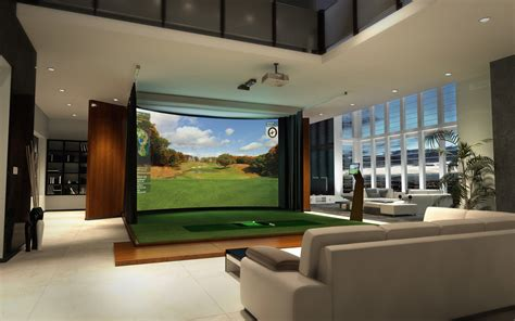 simulation room indoor golf simulator room resolution curved widescreen