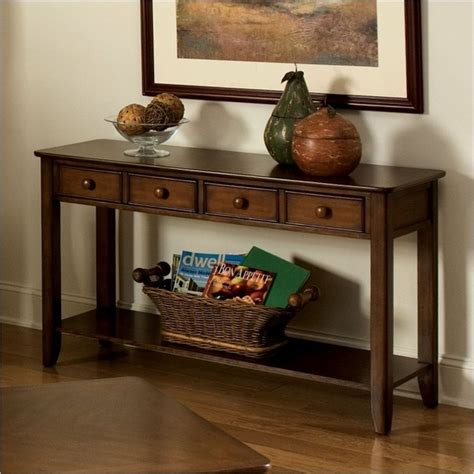 how to decorate a side table in a living room standard furniture hialeah court sofa table in rich cherry