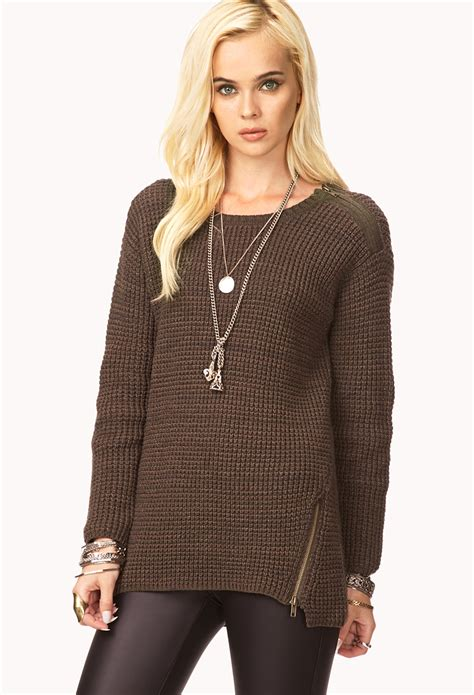 knitted sweaters forever 21 lyst forever 21 favorite waffle knit sweater in brown