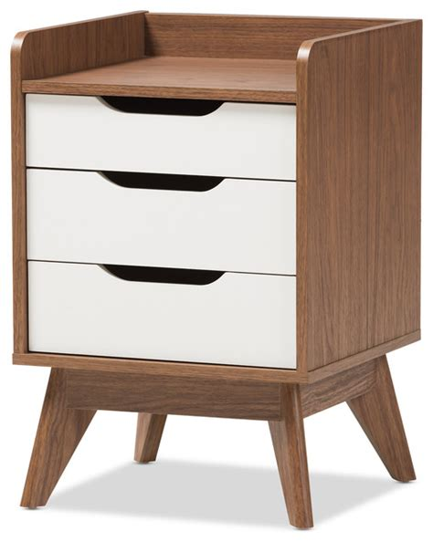 white nightstand with wood drawers brighton mid century modern white and walnut wood 3 drawer