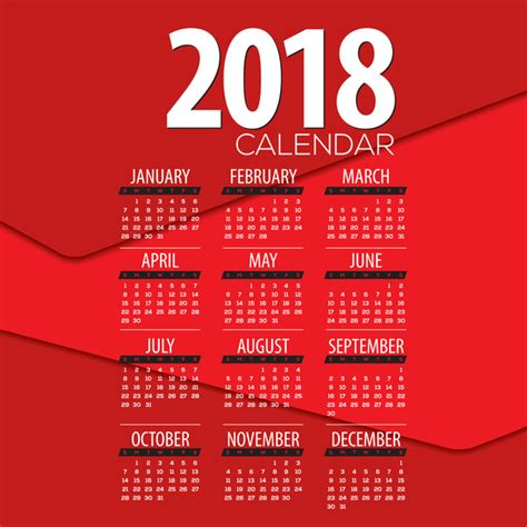 granica mafalda 2018 desktop calendar red red 2018 calendar template design vector 02 vector calendar free download