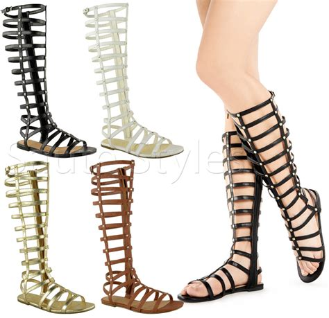 thigh high gladiator flat sandals womens knee high cut out flat strappy gladiator