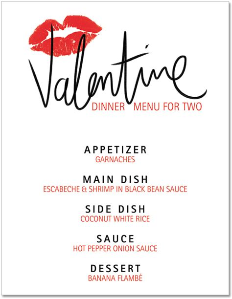 search results for valentines day dinner menu template