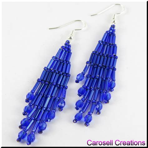 bugle bead beaded bugle seed bead dangle earrings by