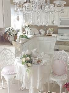 picture of provence styled shabby chic kitchen in white
