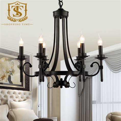vintage black chandelier classic iron candle light chandelier vintage black