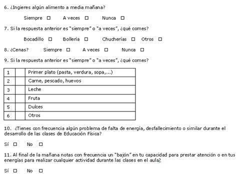 cuestionario para escolares y adolescentes estudio sobre determinados h 225 bitos alimenticios de una
